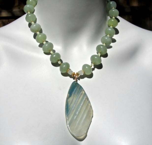 Light Green Stone, Agate Slice, Aventurine, Jade, Natural Stone