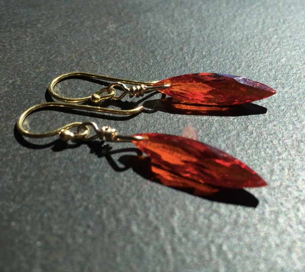 CZ Statement Earrings, Fire Opal Red, Marquise Earrings, Sparkly Dangle