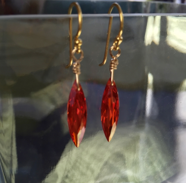 Red Crystal Earrings, Red CZ, 14K Gold Filled, Sparkly Jewelry