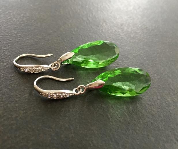 Green Statement Earrings, Peridot Green, Quartz Teardrops, Sterling Silver CZ