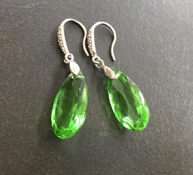 Quartz Earrings, Statement Earrings, Green Quartz, Sterling Silver, Pave CZ