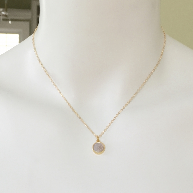 Druzy Pendant, Gold Bezel, Minimalist Necklace, Sparkly Jewelry, Gold Chain