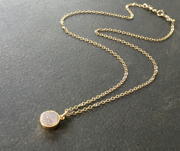 Dainty Gold Necklace, Natural Druzy Pendant, Gold Filled Chain, Prairie Ice