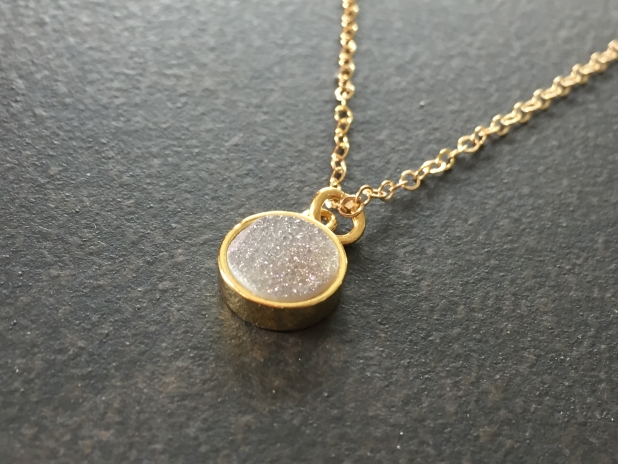 Natural Druzy Pendant, Bezel Set, 14K Gold Filled, Dainty Jewelry, Boho Style