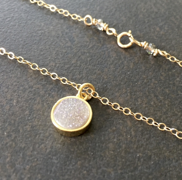 Dainty Druzy Necklace, Natural Druzy Pendant, 14K Gold Filled, Sparkly