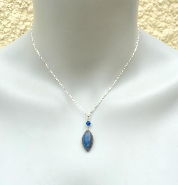 Blue Flash Labradorite, Labradorite Necklace, Marquise Stone, Blue Agate, Silver