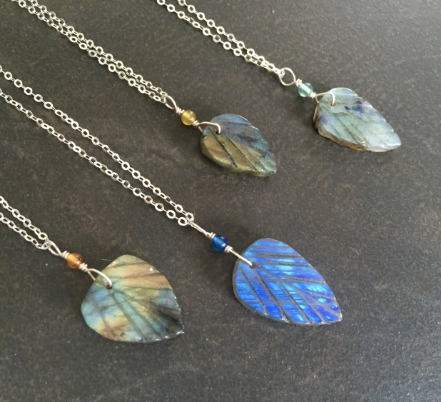 Labradorite Leaf Necklace, Hand Carved, Sterling Chain, Prairie Ice
