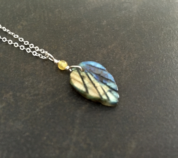 Carved Leaf Necklace, Labradorite, Blue and Yellow Stone, Sterling Silver