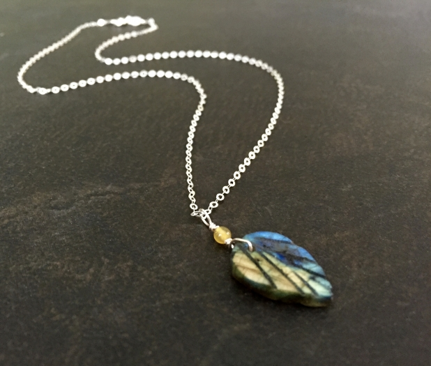 Labradorite Leaf Necklace, Yellow Agate Accent, Sterling Silver, Boho Style
