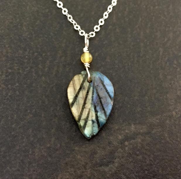 Labradorite Necklace, Carved Leaf Pendant, Sterling Silver, Dainty Necklace