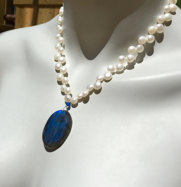Blue Flash Labradorite, Statement Necklace, Baroque Pearls, Blue Agate, Sterling