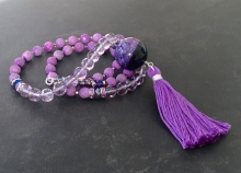 Long Tassel Necklace, Purple Stone, Agate Sphere, Amethyst