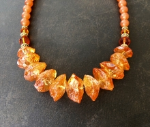 Rough Quartz Necklace, Orange Quartz, Mystic Quartz, Statement Necklace