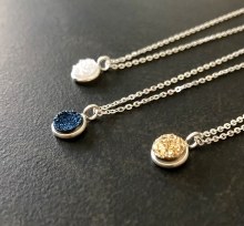 Druzy Necklace, Titanium Druzy, Sterling Silver Bezel Set, Sparkly