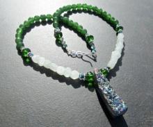 Druzy Statement Necklace, Titanium Druzy Pendant, Emerald Jade, Aventurine