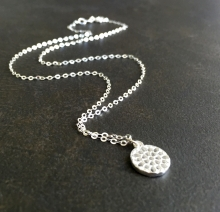 Sterling Silver Honeycomb Disk Necklace
