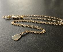 Diamond Slice Necklace, Champagne Diamond, 14K Gold Filled