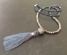 Long Tassel Necklace, Pave CZ, Crystal, Metallic Necklace