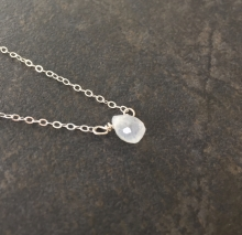 Dainty Rainbow Moonstone Necklace, Sterling Silver