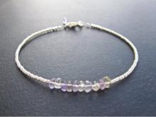 Ametrine Bracelet, Skinny Stacking Bracelet, Gemstone Bracelet, Semi Precious