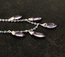 Amethyst Necklace, Lavender Amethyst Gemstones, Sterling Silver, Prairie Ice