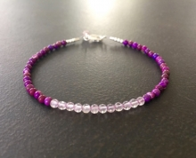 Lavender Amethyst Purple Turquoise Minimalist Stacking Bracelet, Semi Precious