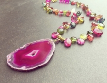 Hot Pink Agate Druzy Slice Necklace, Crystal Nuggets, Multi Colour