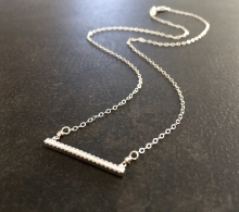 Dainty Bar Necklace, CZ Bar Pendant, Sterling Silver