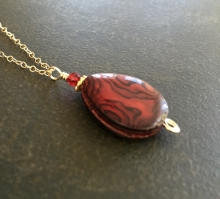 Red Abalone Necklace, Abalone Teardrop, 14K Gold Filled Chain