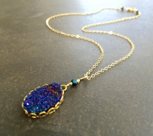 Titanium Druzy Necklace, Blue Druzy, Gold Filled Chain, Gift for Her