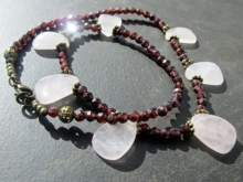 Gemstone Statement Necklace, Rose Quartz, Red Garnet, Vintage Style, Sale
