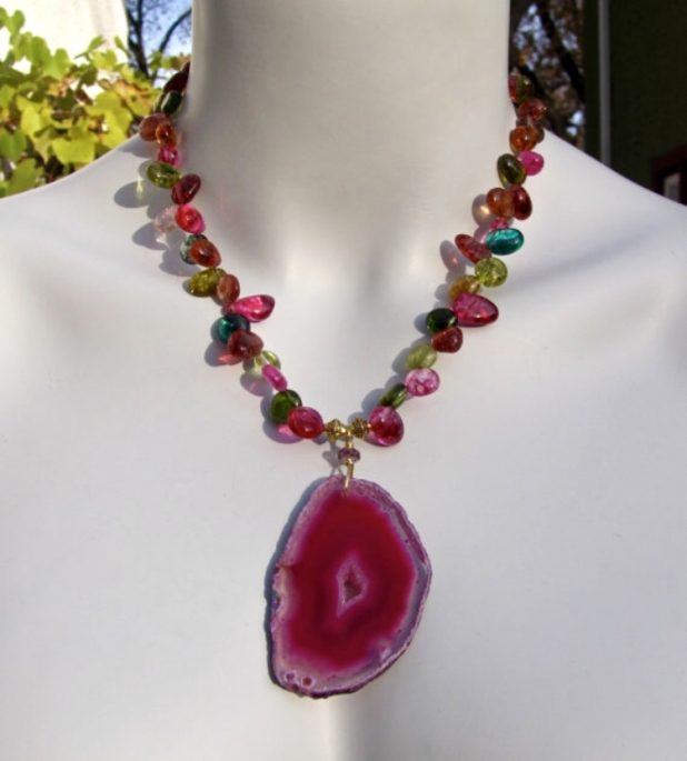 Hot Pink Necklace, Multi Colour Crystal Nuggets