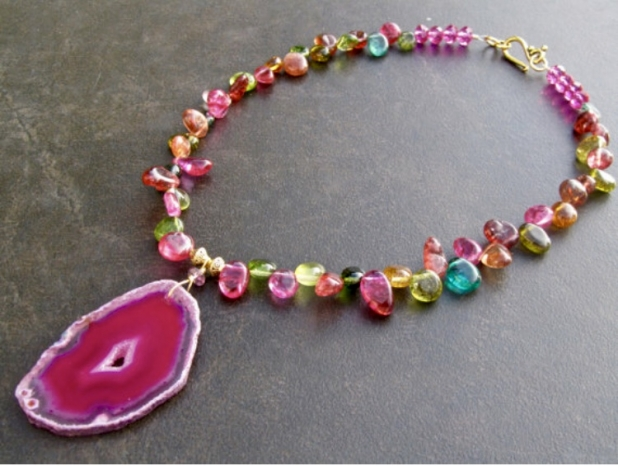 Druzy Statement Necklace, Agate Druzy Slice, Colourful Crystal Nuggets
