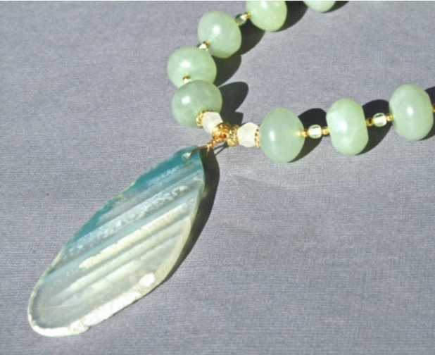 Green Stone Necklace, Agate Slice Pendant, Green Aventurine, Jade