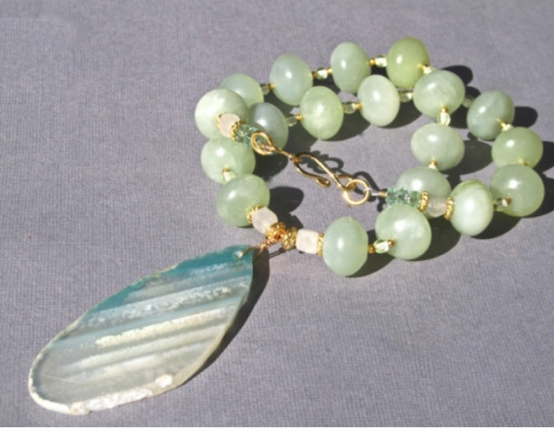Chunky Green Necklace, Agate Slice, Green Aventurine, Jade, Natural Stone