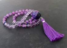 Long Tassel Necklace, Purple Stone, Agate Sphere, Amethyst