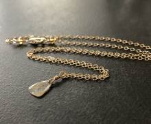 Diamond Slice Necklace, Champagne Diamond, 14K Gold Filled