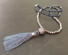 Long Tassel Necklace, Pave CZ, Crystal, Metallic Necklace