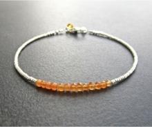 Orange Carnelian Stacking Bracelet, Semi Precious Gemstone, Skinny Bracelet