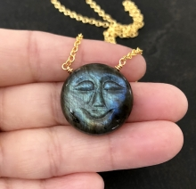 Carved Moon Necklace, Labradorite Moon Face, Blue Labradorite Pendant, 18K Gold