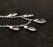 Amethyst Necklace, Lavender Amethyst Gemstones, Sterling Silver, Prairie Ice