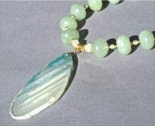 Green Stone Necklace, Agate Slice Pendant, Green Aventurine, Jade