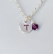 Initial Necklace, Sterling Silver, Personalized Jewelry, Birthstone Charm