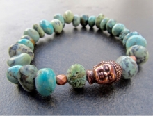 Men's Turquoise Buddha Bracelet, African Turquoise, Stretch Bracelet, Copper